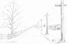 Step spring landscape finished How to Draw Spring Landscape Scene in One Point Perspective Drawing Tutorial