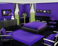 dramatic purple and black bedroom...just needs a different shade of purple and im sold