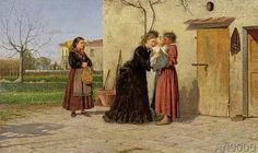 Silvestro Lega - Visiting the wet-nurse