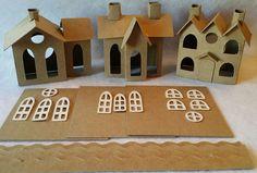 CONJUNTO de 3 casas de estilo de Putz de pueblo - pueblo Vintage/Vintage 3 techos/Vintage House