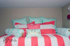 """Coral and mint designer dorm doom. This set is perfect!! Custom made reversible duvet and designer pillows. Love the gold monogrammed lumbar pillow. Check out Decor 2 Ur Door's """"Design Your Own"""" section to design your dream dorm."""