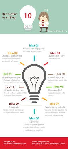 10 ideas para escribir en tu blog #infografia #infographic #socialmedia