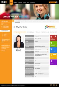 24/7 IRIS Intranet Redesign Mockups by Elly Hizon, via Behance