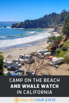 Camp on the beach and whale watch from your tent or RV at this beautiful, unique campground in Northern California. It's a perfect couples or family staycation getaway. Best Bucket List, Famous Beaches, Hidden Beach, Swimming Holes, Whale Watching, Golden State, Staycation, Natural Wonders, Northern California