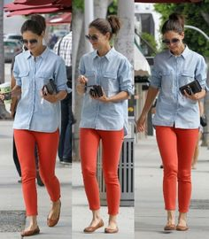"Katie Holmes adds a pop of orange to her outfit. Do you think she said ""Go Gators""?"