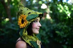 Felt Melted Fairy Woodland Sunflower And Leaf Pixie Pointed Hooded Hat OOAK