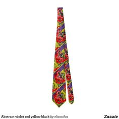 Abstract violet red yellow black corbata