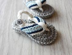 Flip Flops *ベビーサンダル グレー×ベビーブルー  手編みベビーシューズ