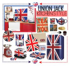 """Union Jack Style - Kitchen."" by shiningstars17 ❤ liked on Polyvore featuring interior, interiors, interior design, home, home decor, interior decorating, Steven Shell, Emma Bridgewater, Halcyon Days and Harrods"