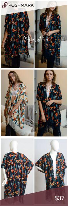 "New Beautiful Navy Floral Boho Kimono New Beautiful Navy Floral Kimono ➿ Color Navy ➿ One Size Fits Most 38"" x 36"" ➿ 100% Viscose dina aziza Accessories Scarves & Wraps"