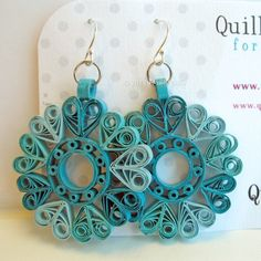 Paper Quilled Earrings Sophie in Ocean Teals by QuillyNilly