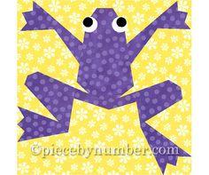 Kiriki the Frog, paper piecing quilt block pattern INSTANT DOWNLOAD PDF