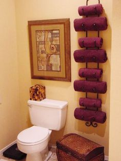 DIY Home Decor Idea: Wine Rack as a Towel Holder for a small bathroom Bathroom Organization, Bathroom Storage, Organization Hacks, Bathroom Ideas, Bathroom Towels, Bath Towels, Downstairs Bathroom, Pool Towels, Bathroom Hacks