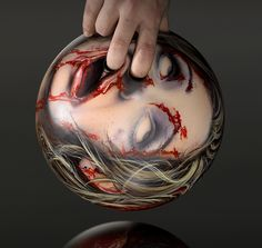 Zombie Head Bowling Balls promiting Germany's  13th Street horror and science fiction channel.