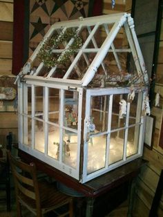 Tabletop Greenhouse Hand Made By Brad U0026 Sherry Made From Recycled Church  Windows