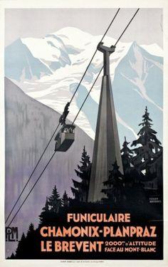 Affiche FUNICULAIRE CHAMONIX-PLANPRAZ LE BREVENT par Roger Broders, 1928/1930