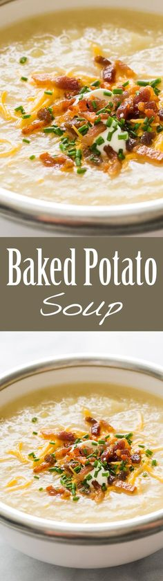 Baked Potato Soup ~ Love loaded baked potatoes? Then you'll love this baked potato soup, with classic toppings of crispy bacon, sour cream, chives, and cheddar ~ http://SimplyRecipes.com