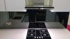 Black Toughened Mirrored Glass Splashbacks