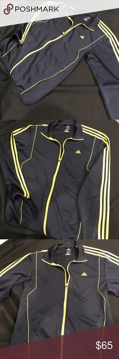 2 for 1 PRICE ADIDAS JOGGING SUIT-NAVY BL & YELLOW 2 FOR 1 PRICE!!!  ADIDAS JOGGING SUIT MENS ---NAVY BLUE & YELLOW---PANTS LARGE---jacket Large ---used 1 time GREAT CONDITION!!!! Adidas Other