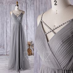 2016 Light Gray Bridesmaid dress, V Neck Beading Spaghetti Straps Wedding Dress, A Line Ruched Prom Dress, Evening Gown Floor Length (LS166)