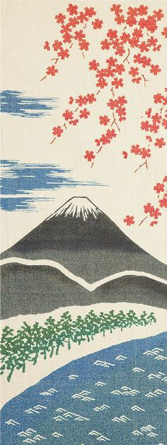 Japanese washcloth, Tenugui 和布華  春の富士山(金糸)Mt. Fuji in spring【gold thread type】