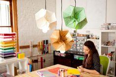 basteln Sie welche Origami Lampen aus buntes Papier