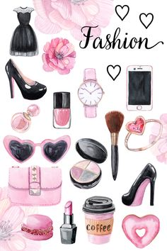 watercolor pink lady fashion clipart. Dress,bag,brush,lipstick,eyeshadows,flower,coffee,donut,iphone,ring,earrings,watch,high heels,sunglasses,polish. Perfect for stickers, planners, scrapbooking. #pink #fashion #watercolor #clipart #supplies #woman #girl