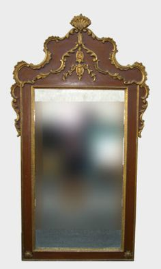 """Large 63""""Hx33 Vintage FRENCH PROVINCIAL Gold & Brown Wall Mantle TRUMEAU MIRROR in Antiques, Decorative Arts, Mirrors 