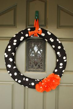 Halloween Fabric Wreath - You can order a fabric wreath from the website, and get her to custom make one for you with any fabric color and design! YAY! :)