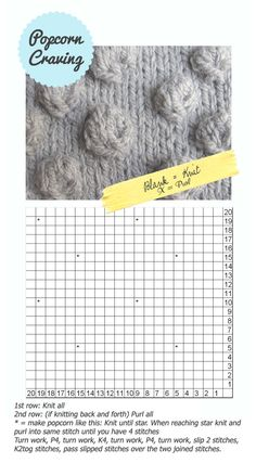 "I have attempted to knit ""bumps"" ever since I picked up knitting.  I will see if this tutorial makes sense to me - db  Popcorn Stitch - how to tutorial"