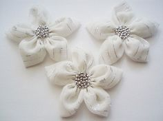 White  Silver Chiffon Flowers Handmade Appliques by BizimSupplies, $12.00
