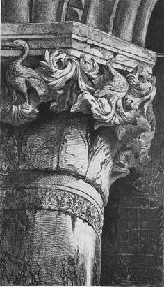 John Ruskin I The Seven Lamps of Architecture I 1855 I Capital from the Lower Arcade of the Doge's Palace, Venice Gothic Architecture Drawing, Architecture Antique, Architecture Artists, Architecture Design, A Level Art Sketchbook, Arte Sketchbook, Art Sketches, Art Drawings, Bg Design