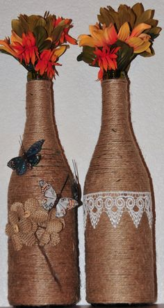 Decorated wine bottles| Wine Bottles| Jute wrapped| Cute Vase decorated| Butterflies and Flowers dec