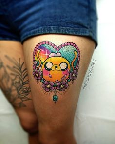 """Awesome Adventure Time kawaii tattoo by Laura Anunnaki. Kawaii tattoos are exactly what little girls are made of, """"sugar and spice, and all things nice"""". Time Tattoos, Body Art Tattoos, Tattoo Drawings, New Tattoos, Sleeve Tattoos, Tatoos, Adventure Time Tattoo, Pretty Tattoos, Beautiful Tattoos"""