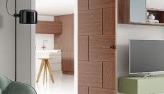 bathroom and bedroom door with a stylish walnut veneer