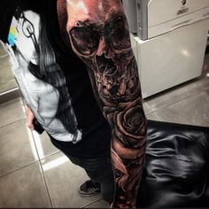 Skull arm Tattoo by Drew Apicture