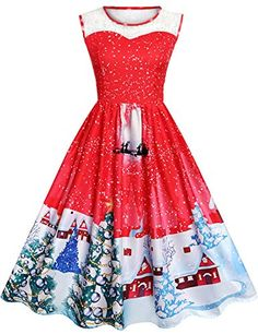 a3eaae14c458 Enjoy exclusive for Women Christmas Dresses Vintage A-Line Lace O-Neck  Sleeveless Santa Claus Reindeer Xmas Print Cocktail Swing Party Dress  online - ...