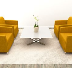 Stylish waiting area. Sitting area features Nevins synk2 chairs and elite occasional table with a solid surface top.