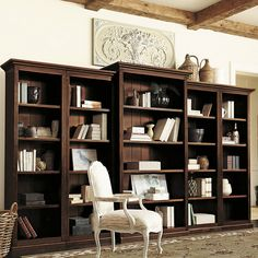 Ballard Designs Tuscan Bookcase Set - 5 Piece ($3,299) ❤ liked on Polyvore featuring home, furniture, ballard designs, wood furniture and wooden furniture