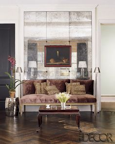 mercury glass mirror tiles. I love this. Are they cool?