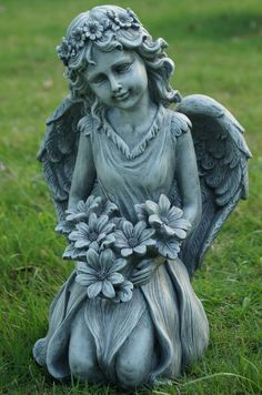 Wonderful Angel Kneeling And Holding Flowers Statue
