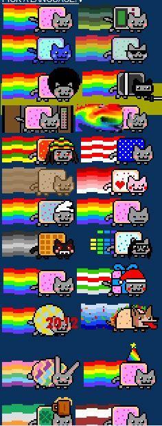 Nyan Cat by Fengze Han Nyan Cat, Pusheen Cat, Grumpy Cat, Pusheen Stuff, Pokemon, Pikachu, Pixel Art, Kawaii 365, Cat Party
