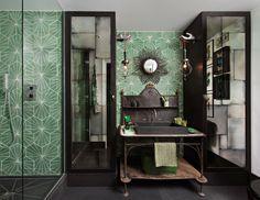 Hubert Zandberg Interiors   green bathroom tile popham design
