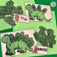 Dinosaur name and sight word game perfect for little learners (preschool, pre-k, and kindergarten) Dinosaur Classroom, Dinosaur Theme Preschool, Dinosaur Crafts, Preschool Literacy, Preschool Lessons, Literacy Centers, Dinosaur Dinosaur, Kindergarten Centers, Dinosaurs Eyfs