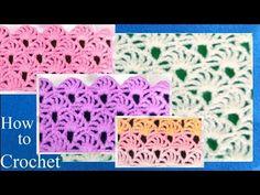 Como tejer a Crochet punto de abanicos calados How to Crochet Learn - YouTube