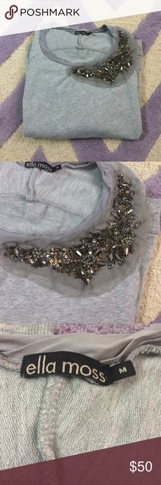 🍂ELLA MOSS sweatshirt🍂 Beautiful heather gray ELLA MOSS sweatshirt. Gorgeous beading around the neck. Size M,... fits more like a small. There are a few imperfections in the beading, but none are noticeable and could easily be fixed! Ella Moss Sweaters Crew & Scoop Necks