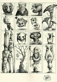 Pk_m collection on behance cartoon monsters, design reference, monster illu Monster Art, Monster Sketch, Monster Drawing, Creepy Art, Weird Art, Art And Illustration, Illusion Kunst, Arte Horror, Creature Design