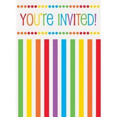 Rainbow Party Invitations, 8Ct