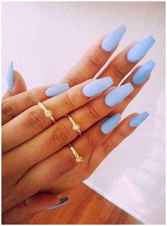 Blue Matte Nails, Baby Blue Nails, Light Blue Nails, Blue Acrylic Nails, Metallic Nails, Pastel Nails, Colorful Nails, Acrylic Colors, Glitter Nails