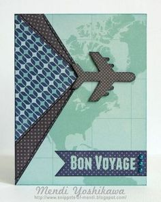 Bon Voyage Card by Guest Designer Mendi Yoshikawa for the Card Kitchen Kit Club using the June 2014 Card Kitchen Kit
